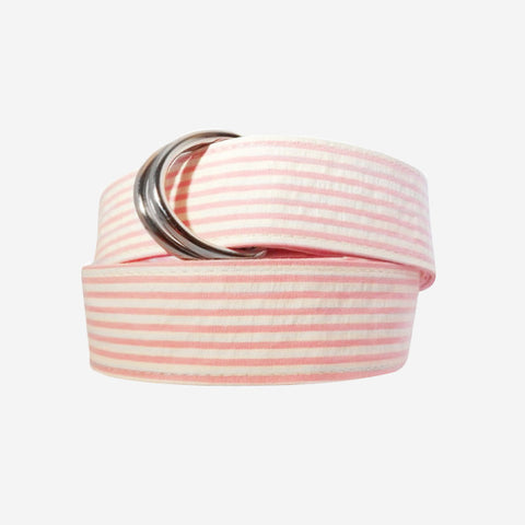 YRI Men's Ribbon D-Ring Belt - Pink Seersucker