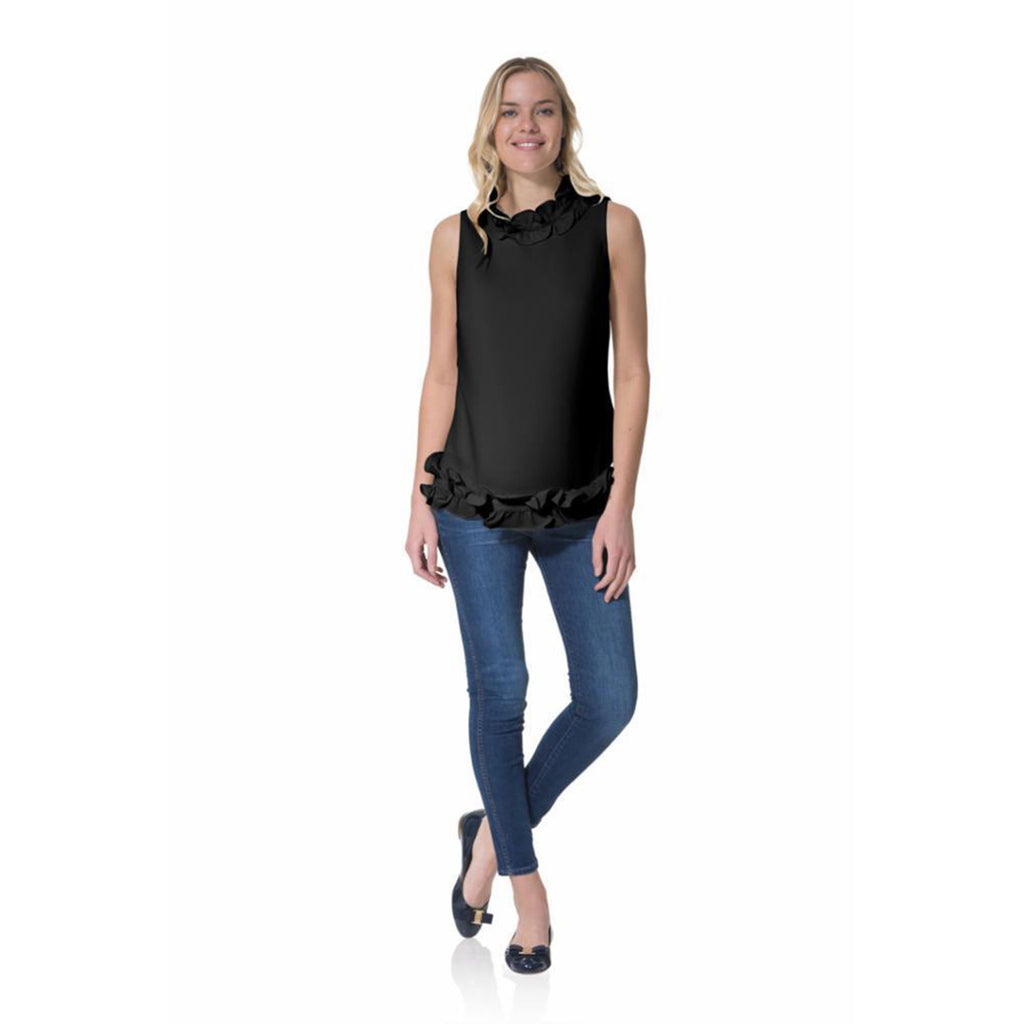 Sail to Sable Poly Crepe Double Ruffle Sleeveless Top Black
