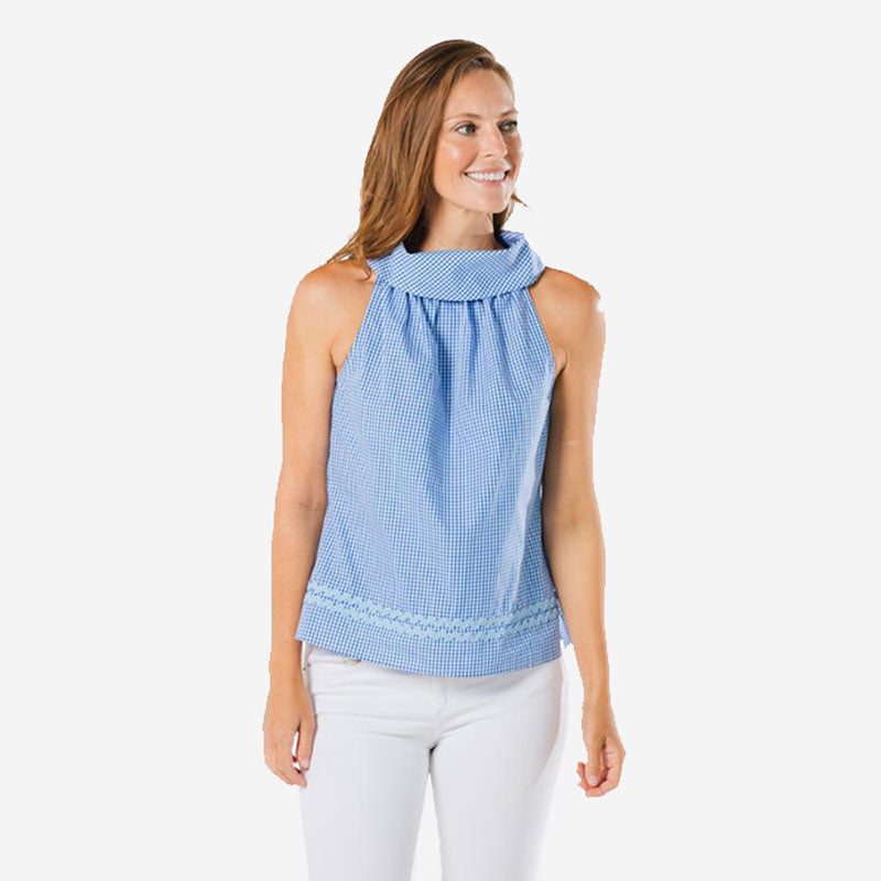 Sail to Sable Cowl Neck Top Blue White