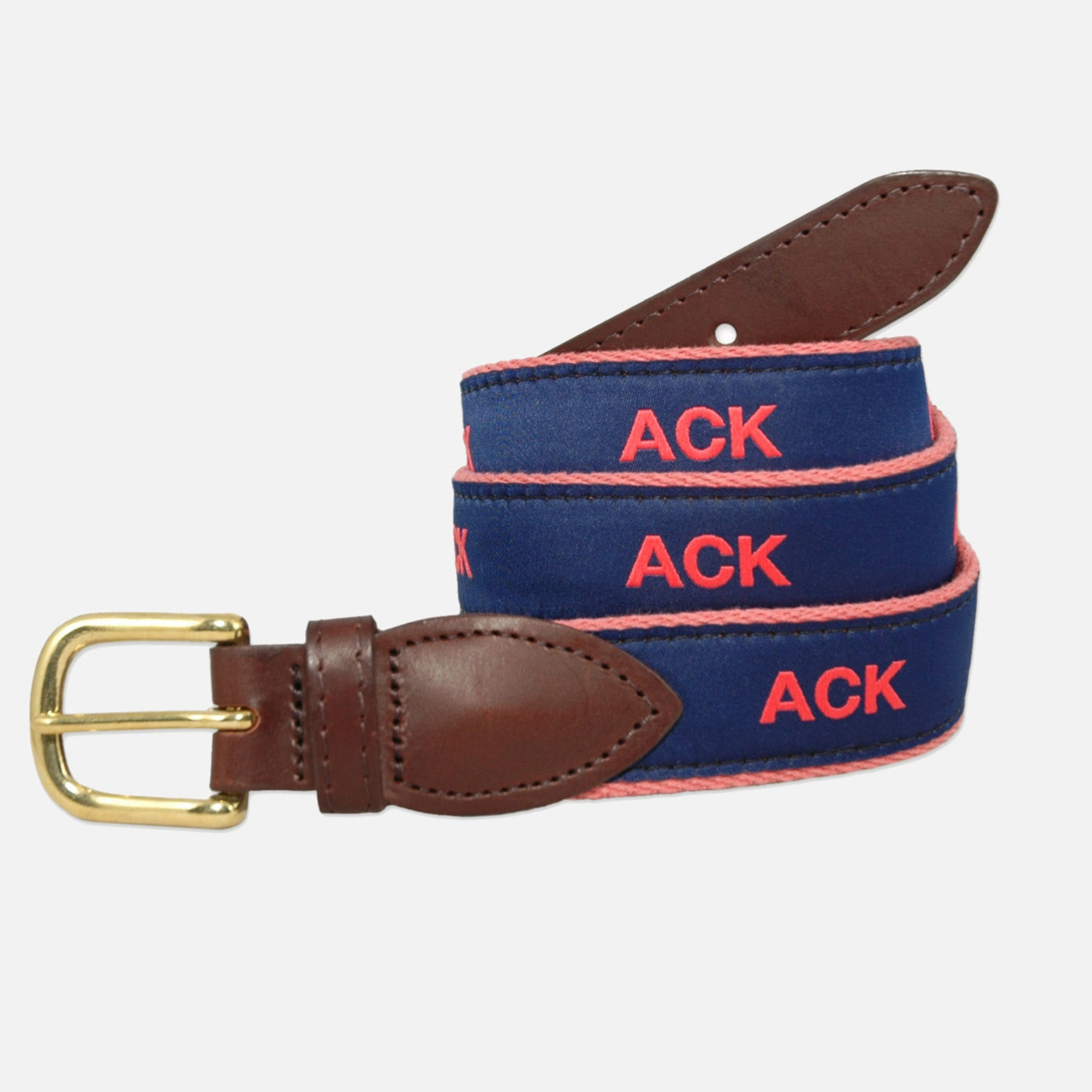 YRI Men's Ribbon Belt - Red ACK on Red Webbing