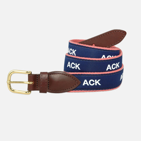 YRI Men's Ribbon Belt - White ACK on Red Webbing