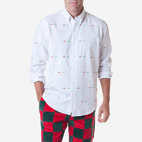Castaway Straight Wharf Shirt - White Oxford with HoHoHo