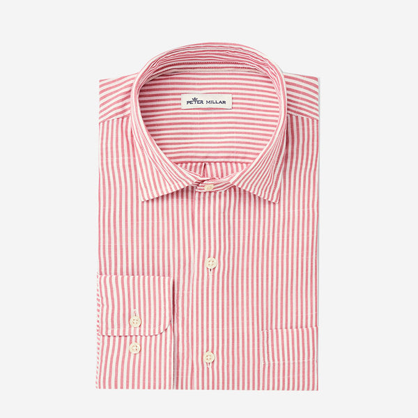 Peter Millar Sandbar Cotton Sport Shirt  Hyannis Red