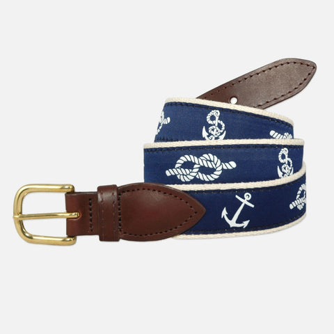 YRI Men's Ribbon Belt - Anchors & Knots
