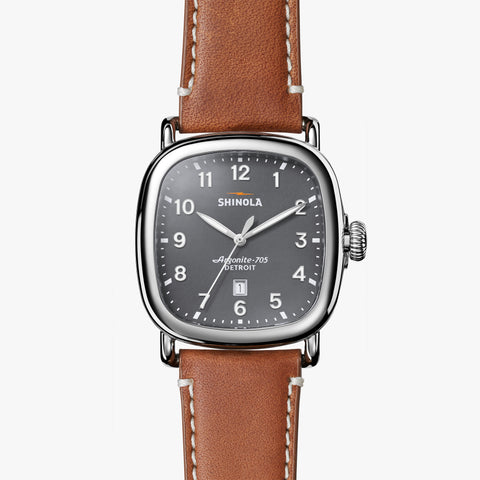 Shinola The Guardian 41.5mm Cool Gray Watch Tan Beaumont Leather Strap