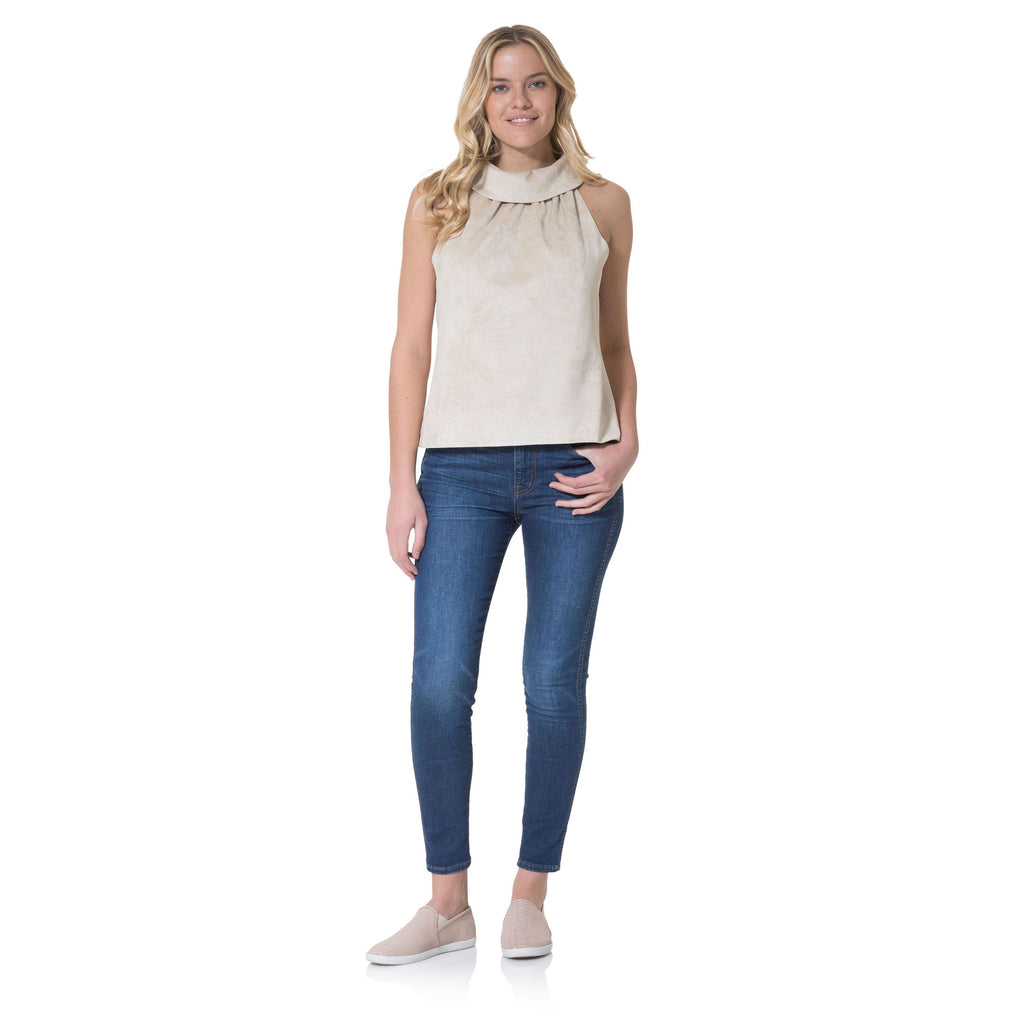 Sail to Sable Faux Suede Cowl Neck Top