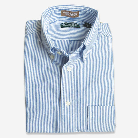 M Crest by Gitman Bros Stripe Button Down Oxford Blue