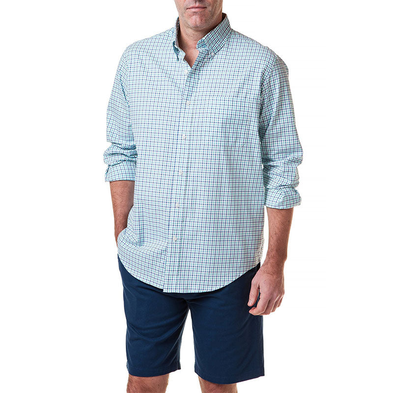 Castaway Chase Shirt Turquoise Tattersall