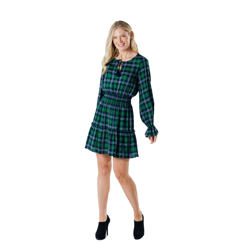 Sail to Sable Long Sleeve Tassel Front Dress Blackwatch Plaid