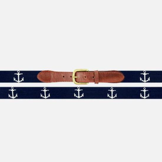 Smathers & Branson Anchor Needlepoint Belt - Dark Navy