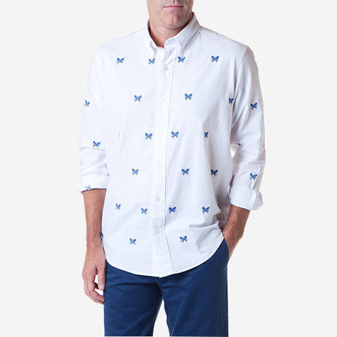 Castaway Straight Wharf Shirt - White Oxford with Crossed Fishbones