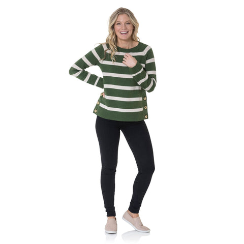Sail to Sable Merino Wool Long Sleeve Stripe Sweater Olive Camel