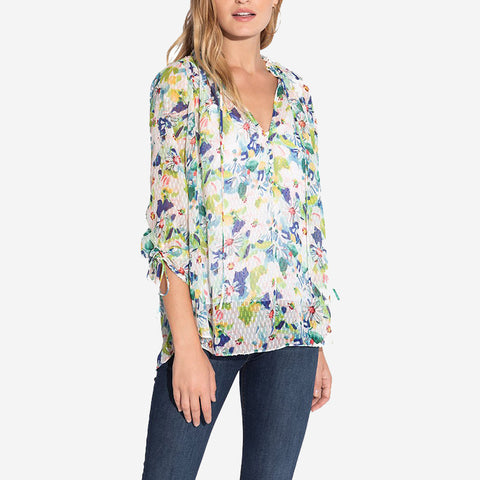 Shoshanna Burela Top Sky Blue Blush Multi