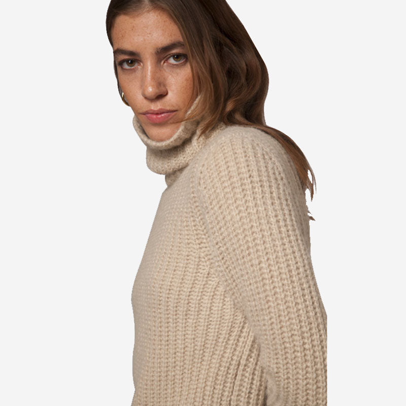 Fisherman out of Ireland Ribbed Polo Neck Sand
