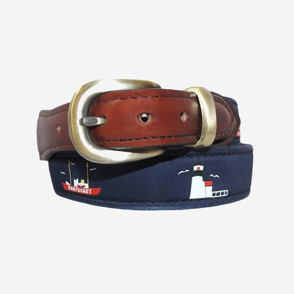 YRI Men's Ribbon Belt - Lighthouses & Lightship