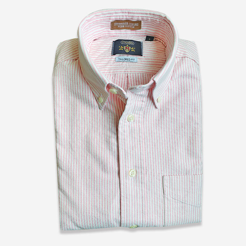 M Crest by Gitman Bros Stripe Button Down Oxford Pink