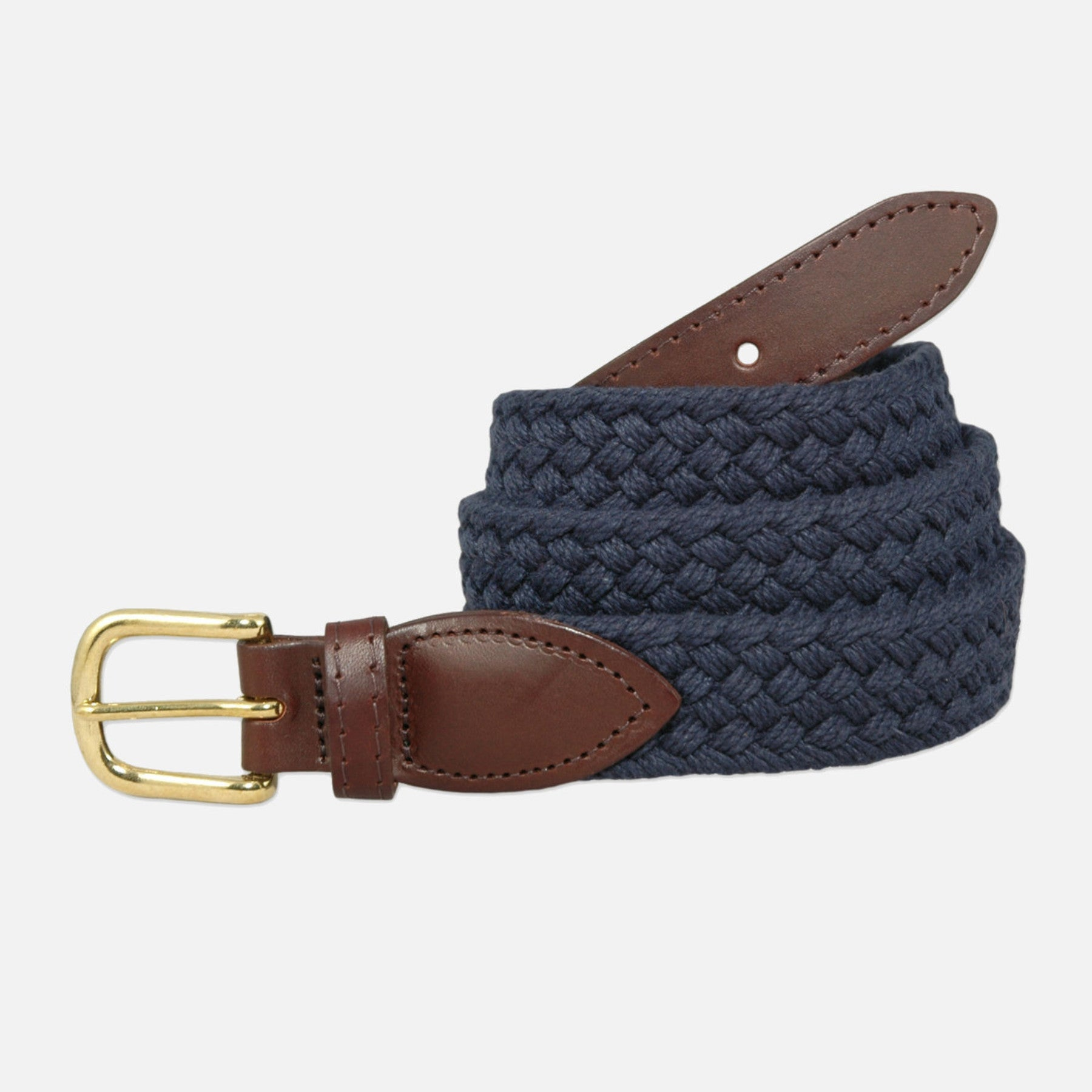 YRI Men's Braided Cotton Belt - Navy