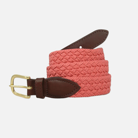 YRI Men's Braided Cotton Belt - Nantucket Red