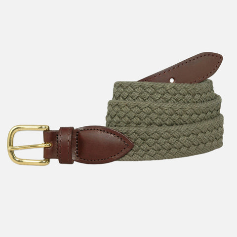 YRI Men's Braided Cotton Belt - Olive