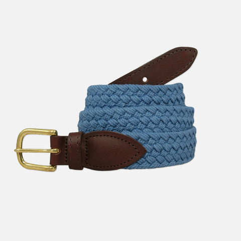 YRI Men's Braided Cotton Belt - Pale Blue
