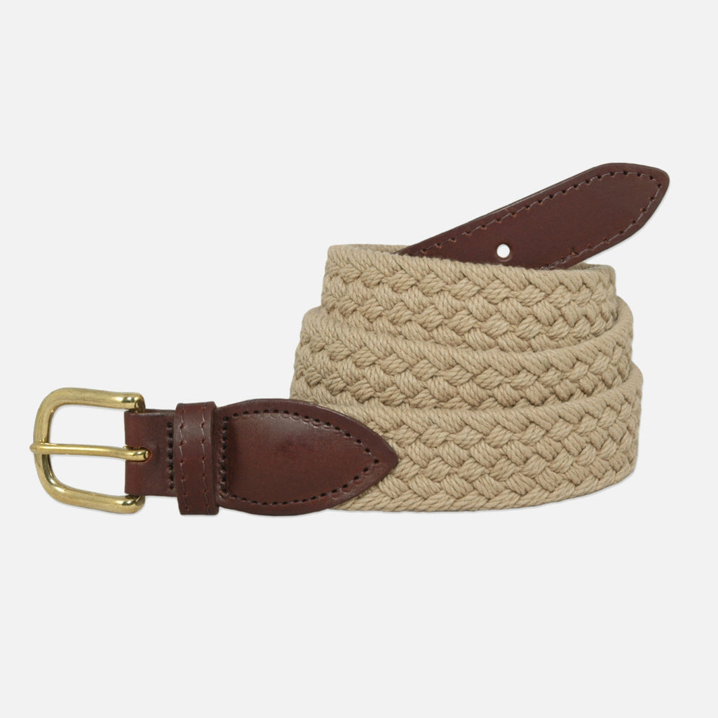 YRI Men's Braided Cotton Belt - Tan