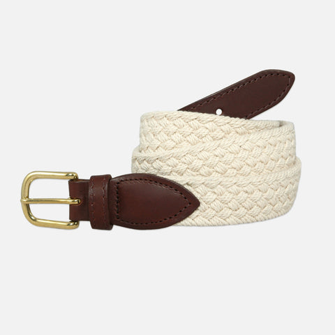 YRI Men's Braided Cotton Belt - White