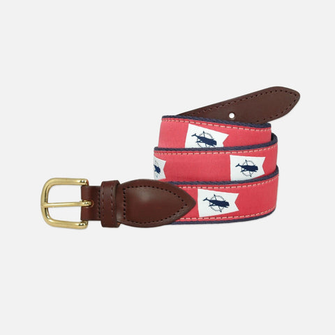 YRI Men's Ribbon Belt Nantucket Burgee - White on Red Ribbon and Navy Webbing