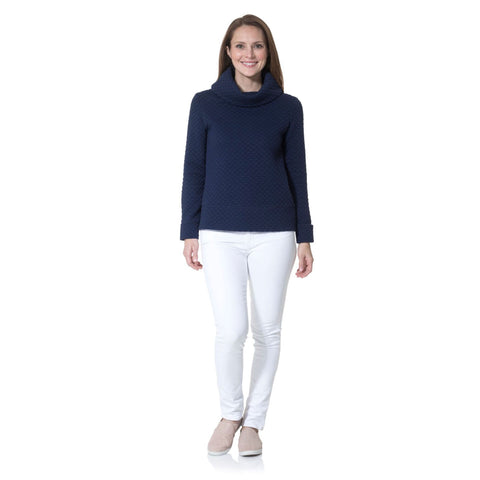 Sail to Sable  Dot Textured Knit Cowl Neck Pullover