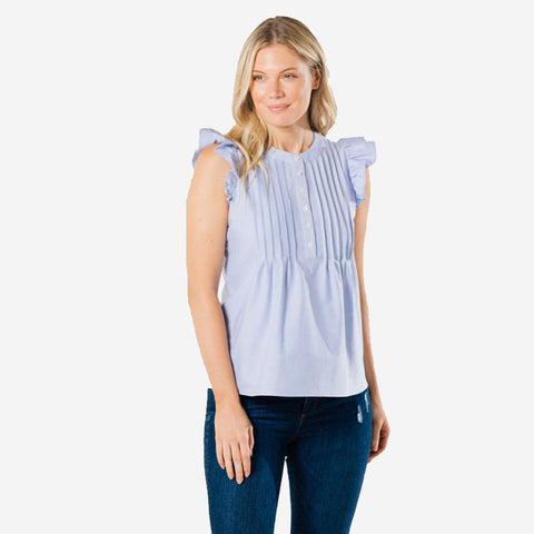 Sail to Sable Flutter Sleeve Top Blue