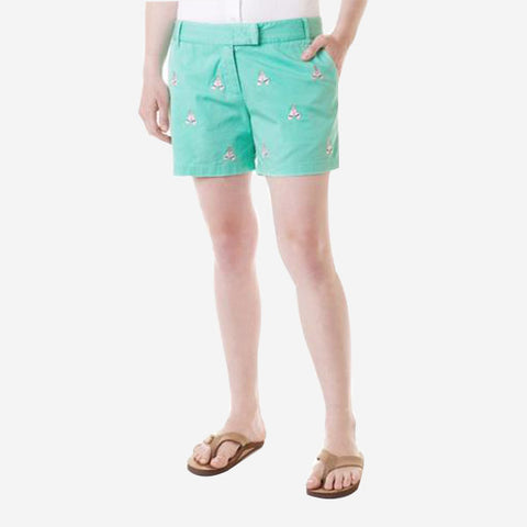 Castaway Sailing Short - Palm With Rose All Day