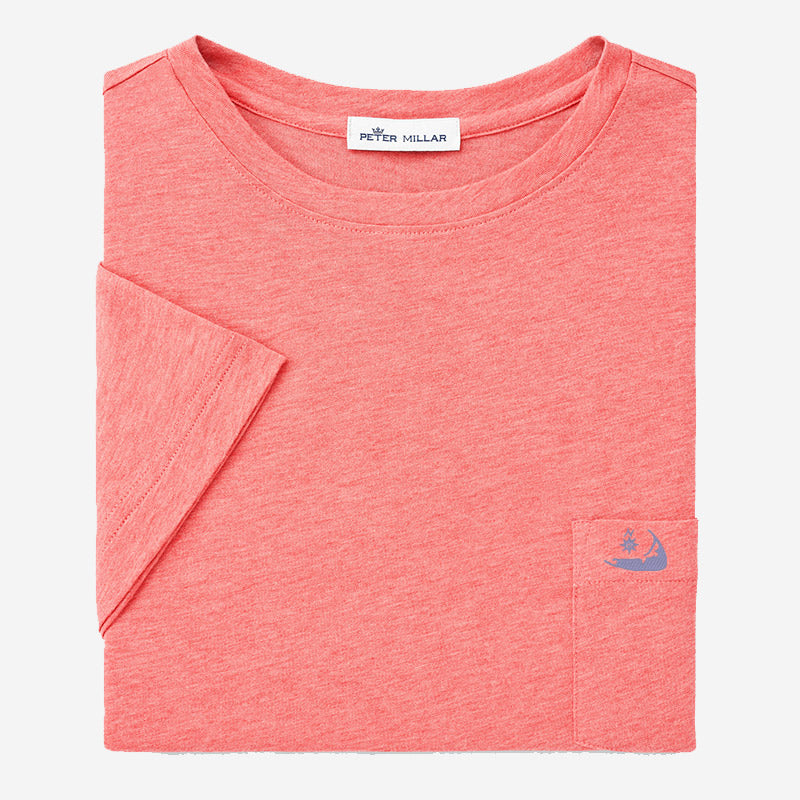 Peter Millar Mens Seaside Summer Soft Pocket Tee Hyannis Red with Island Logo
