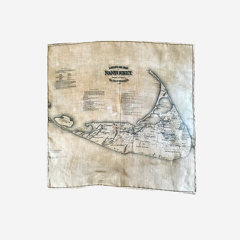 Trumbull Rhodes Nantucket Map Pocket Square - Natural Linen