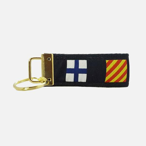 YRI Nautical Code Flags Key Fob - Navy