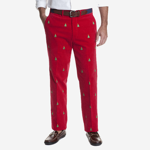 Castaway Beachcomber Corduroy Pant - Crimson with Christmas Tree