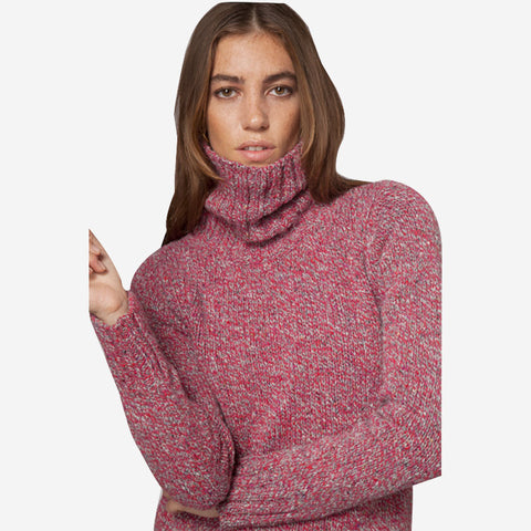 Fisherman out of Ireland Polo Neck Sweater with Ribbed Trims Candy