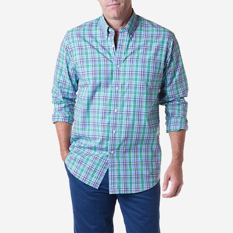 Castaway Chase Shirt - Covy Plaid Green