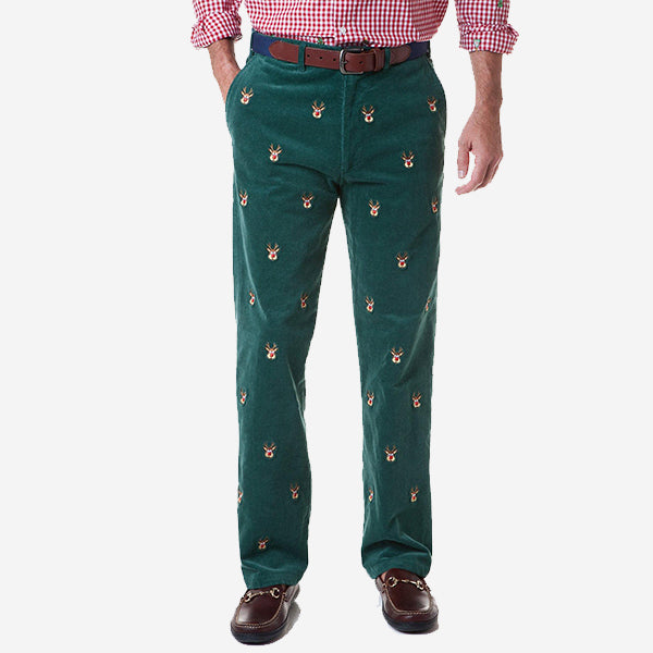 Castaway Beachcomber Corduroy Pant - Hunter with Rudolph