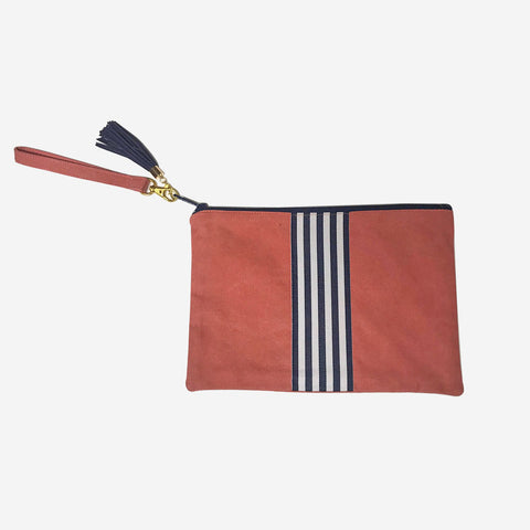 Nantucket Reds Collection™ Custom Clutch Navy White Ribbon Wristlet Strap
