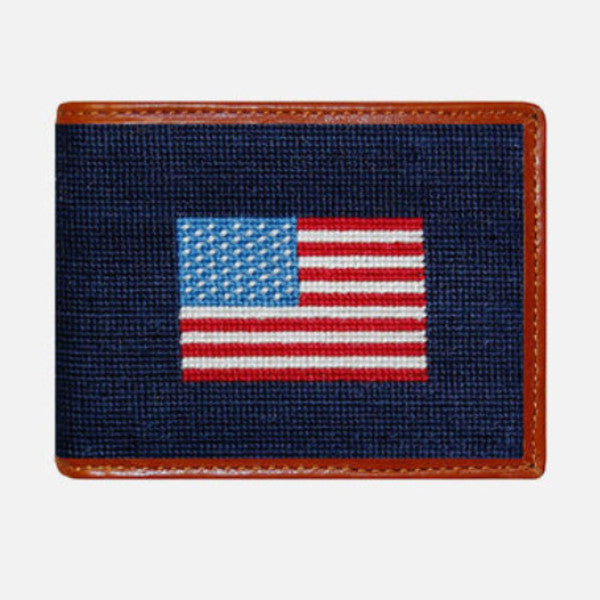 Smathers & Branson American Flag Needlepoint Bifold Wallet
