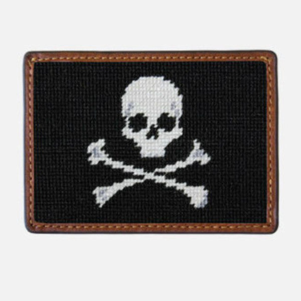 Smathers & Branson Jolly Roger Needlepoint Card Wallet