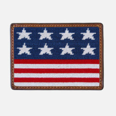 Smathers & Branson Old Glory Needlepoint Card Wallet