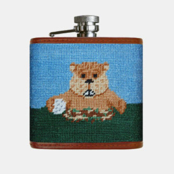 Smathers & Branson Gopher Golf Needlepoint Flask