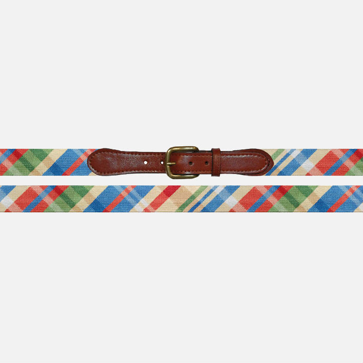 Smathers & Branson Summer Madras Needlepoint Belt