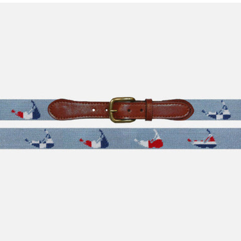 Smathers & Branson Nantucket Nautical Antique Blue Needlepoint Belt