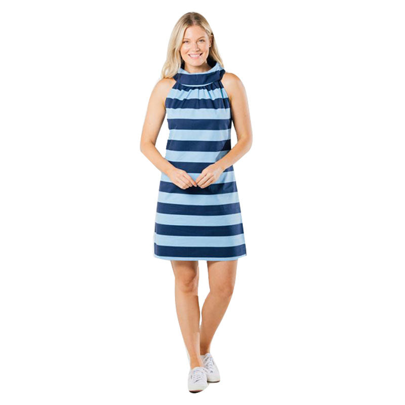 Sail to Sable Cowl Neck Dress Navy Periwinkle