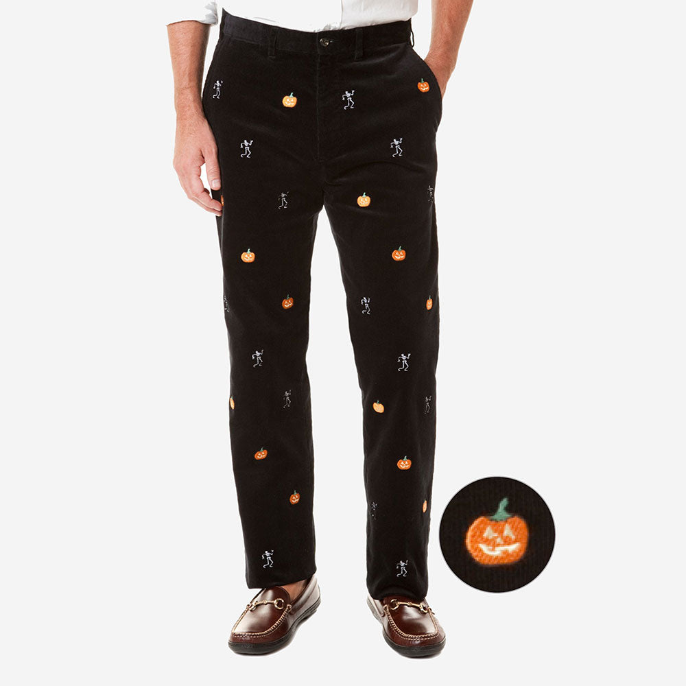 Castaway Beachcomber Corduroy Pant Black with Pumpkin & Skeleton