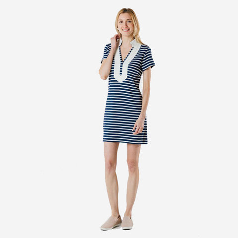 Sail to Sable Short Sleeve Tunic Dress Navy Ivory