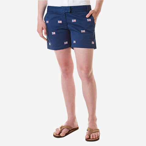 Castaway Sailing Short - Atlantic With American Flag