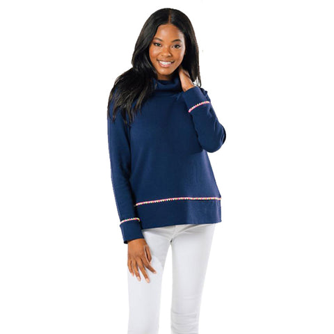 Sail to Sable Cowl Neck Pullover with Pom Poms Navy