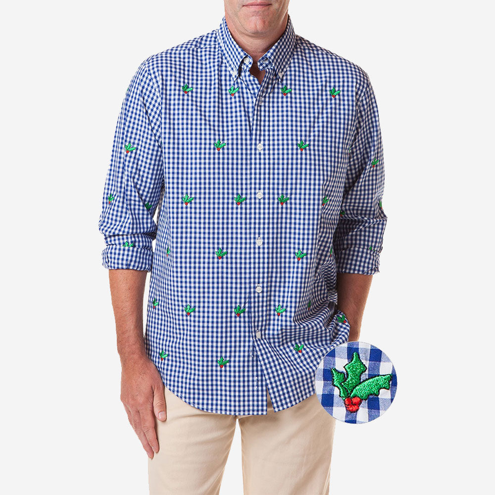 Castaway Straight Wharf Gingham Shirt Royal Blue with Hollyberry
